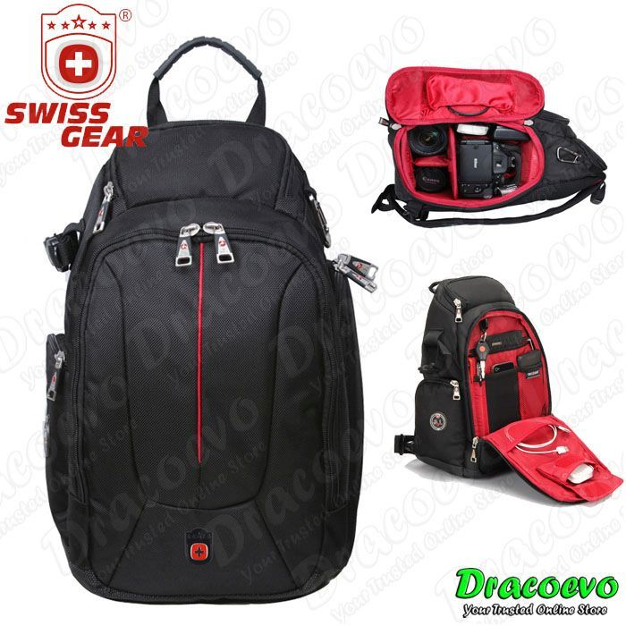 Swiss Gear Sling Shoulder Bag Travel Backpack DSLR Camera SA-0372C